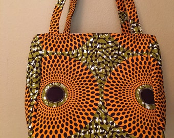 Beth#1816, African Wax Cotton Large Project Tote, Bright Large Knitting Bag, Knitting Project Bag, Crochet Project Bag, Large Knitting Bags