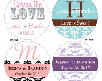 120 1.5 inch Custom Glossy Waterproof Wedding Stickers Labels - hundreds of designs to choose from - change designs to any color or wording