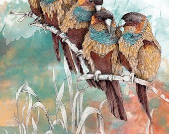 Parrots illustration art print, Nature inspired bird watercolor, Bird lover gift