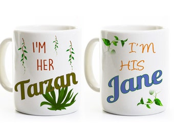 Tarzan and Jane Coffee Mugs - Gift for Couples -His and Her Anniversary Wedding Gift -Engagement Gift -Coffee Mugs