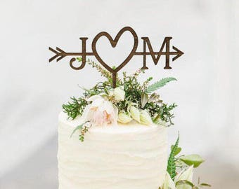 Rustic Wedding Arrow Cake Topper | Decoration | Beach wedding | Bridal Shower | Initials Cake Topper | Rustic Country Chic Wedding Top