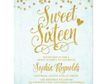 Aqua Sweet 16 Printed Invitations - Sweet Sixteen Party Invitations - Aqua Blue & Gold Confetti Party Invites - Teen 16th Birthday Party