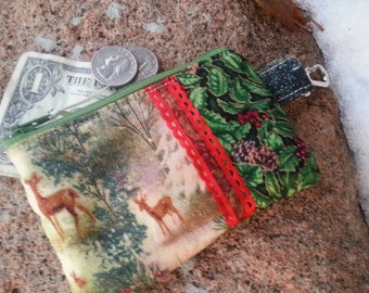 Christmas Coin Purse, Deer Zipper Wallet, Christmas Zipper Bag, credit card pouch