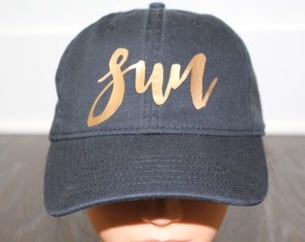 Women's Sun Hat  |  Sun Cap |  Sun Baseball Hat  | Beach Hat | Pool Hat | Summer Hat |  Comfort Colors Hat  | Copper Metallic  |  Black Hat