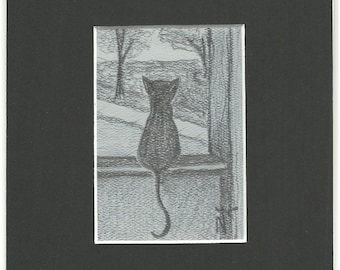 Waiting ORIGINAL ART graphite pencil drawing cat sketch ACEO matted 5x7