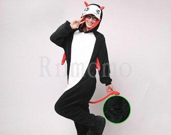 Adult Onesie Pajamas Kigurumi Evil Pajamas for Women Men Girls Boys Flannel Pajamas Sets Cosplay Costumes Animal  Pyjamas Unisex