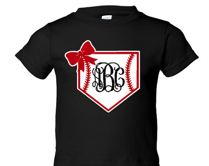 INFANT / TODDLER / YOUTH Baseball Home Plate T-Shirt with Monogram and Bow - Great for Baseball Sister,Baseball Cousin etc. (R3321) #1301