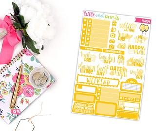 Yellow Functional Sampler, Planner Stickers for the Erin Condren Life Planner, Sampler Sheet - [FS0004]