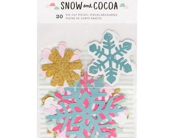 Crate Paper - Snow & Cocoa Die-Cut Snowflakes - Set of 20 - Planner Die Cuts - Christmas