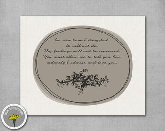 Pride and Prejudice - In vain have I struggled  - Printable, Instant Download, PERSONAL USE ONLY