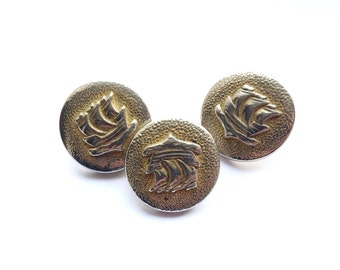 3 French Antique Ship Buttons, 21mm