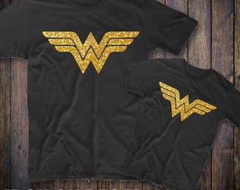 Wonder Women Iron on Decal, DIY Wonder Women Decal, Gold Glitter Iron On, Heat Transfer Vinyl