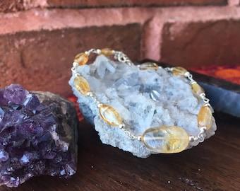 925 Sterling Silver Yellow Orange Genuine Citrine Beaded Bracelet Crystals Gemstones Healing Crystals Reiki Energy Chakra