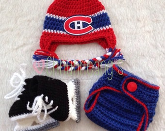 PRE-ORDER Newborn, Baby, Montreal Canadiens, Hockey Hat, Hockey Skates