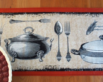 French Bistro Table Runner in Red and Black, Tablerunner, Centerpiece Runner, Antique Cookware, Michael Miller Bon Appetit, Choose Length