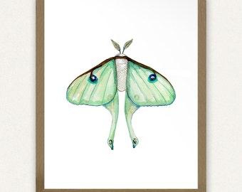 8x10 Luna Moth Watercolor - Printable Art