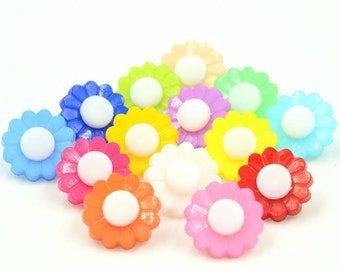 100 pcs Flower Plastic Buttons,Small Plastic Buttons,Buttons For Child,15mm*15mm(143-19)