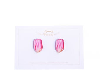 Pink tulip earrings Tulip jewelry Spring earrings Spring studs Tulip studs Spring jewelry Tulip lover gift Spring lover Mothers day gift