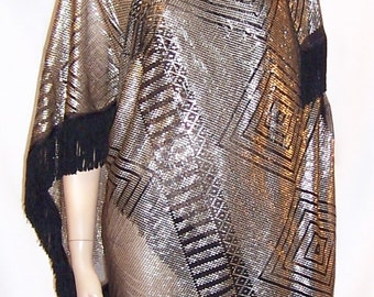 1920's Silver on Black Net, Substantial Assuit Shawl with Fringe