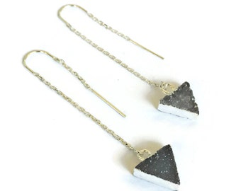 triangle druzy threader earrings, sterling silver ear threader earrings, threader earrings, triangle ear threaders, stone threader earrings