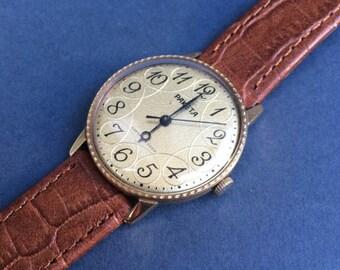 Soviet Watch RAKETA Russian Watch  Famous  movement 2609 нa  watch USSR Gold Plated -  leather band
