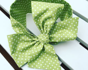 Baby Toddler Girl's Headwrap Big Bow Cotton Headband hair bow turban bandana hair accessories in lime green and white cotton spotty fabric