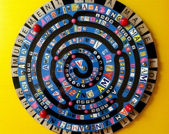 Recycled 3D Assemblage, Spinning Wood attached to recycled record with spinning action, Whimsical Art