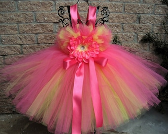 PINK and YELLOW, Tutu Dress, Pink Lemonade, Flower Girl Gown, Pageant Girl Dress, First Birthday Dress, Baptism Gown, Pink Tutu, Yellow Tutu