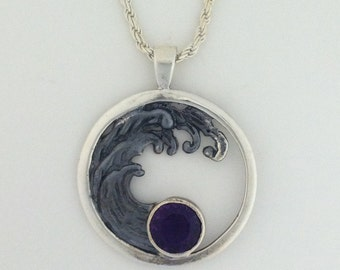 Sterling Silver Amethyst Wave Custom Pendant - Handmade Wave Amethyst Necklace