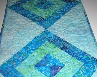Batik Table Runner, blue, handmade, quilted, green, purple