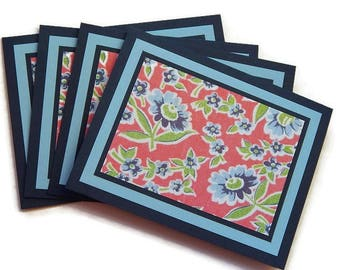 4 Floral Card Set, Any Occasion Cards, Handmade Card, Thank You Cards, A2 Card, Navy Blue Note Cards
