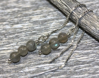 Long Threader Earrings - Labradorite - Sterling Silver - minimalistic earrings