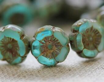 Tropical Reef - Hawaiian Flat Flower Czech Glass Beads (4710-6)
