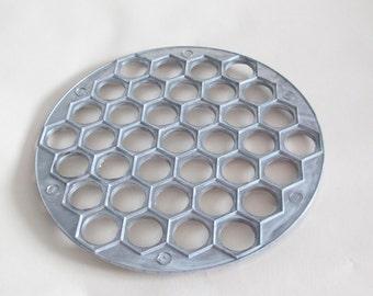 Pelmeni Dumplings Mold, Vintage Metal Aluminum Ravioli Cutter, Maker, Mould, Retro Cookware, Rustic Decor