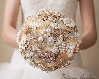 Gold Wedding Brooch Bouquet Wedding Bouquet, Bridal Bouquet, Ivory Champagne Bouquet Ivory Bouquet Broach Bouquet Gold Bouquet Chic Bouquet