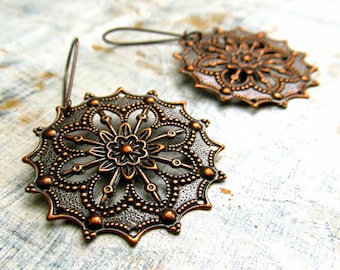 Copper earrings boho earrings Copper Jewelry 7th anniversary gift