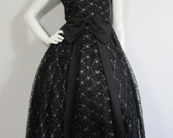 Beautiful 1950'S Lace Bow Dress, UK 8, Prom, Party, Wedding, Goodwood, Ascot, Christening, Christmas