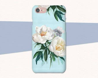 White Flower Phone Case, Blue Floral iPhone Case, iPhone 6 Flower Case, iPhone 7 Plus Case, Floral iPhone Case, iPhone Case Flowers, 8 Plus