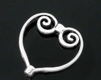 12pc Antique Silver Heart Pattern Bead Frames-7726