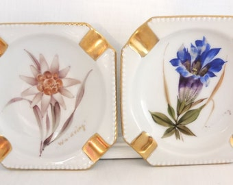ashtray porcelain ashtray hand painted flowers two pieces