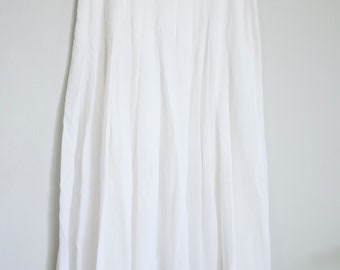 vintage white pleated skirt 1980's women's size 6