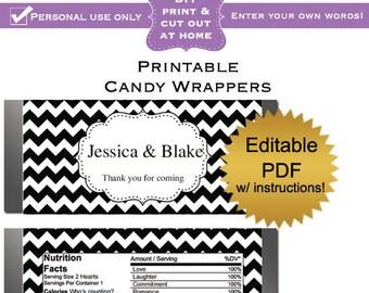 DIY editable printable candy wrappers (No.6) damask wedding favors or baby shower bridal shower graduation PDF Digital File