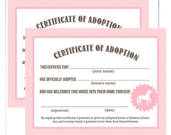 Pony adoption etsy pink vintage horse pony party adoption certificate printable file instant download yadclub