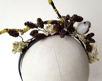 Bird, twig, moss, fir cone  & lichen headband ~ Festival Woodland Wedding ~ Fascinator ~ Quirky Kooky Gothic Alternative Unique LARP