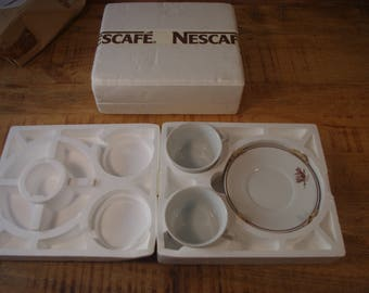 Breakfast game lot 4 services NESCAFE 70s. Game of cups and bowls and vintage. Collecting. Advertising gift. Breakfast game.