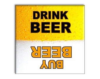 """Funny Beer Refrigerator Magnet 2.5"""" x 2.5"""" Yellow and Black"""