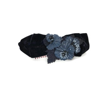 1950s Vintage Velvet Fascinator / Floral Blue Headband Style Hair Piece 50s / Vintage Hat