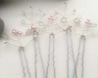 Set of 5 Bridal Hair Pins - Bridesmaids Hair Pins - Silver Hair Pins - Pearl and Crystal Hair Pins