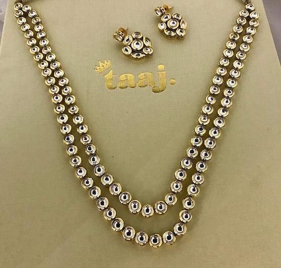 Veira Double row long mala kundan Necklace and Earring set Indian bridal Pakistani jewellery