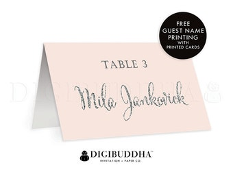 Pink + Silver TENTED PLACE CARDS Wedding Escort Card Folded or Flat Placecard Blush Pink Gray Silver Glitter Modern Rehearsal Dinner - Mila